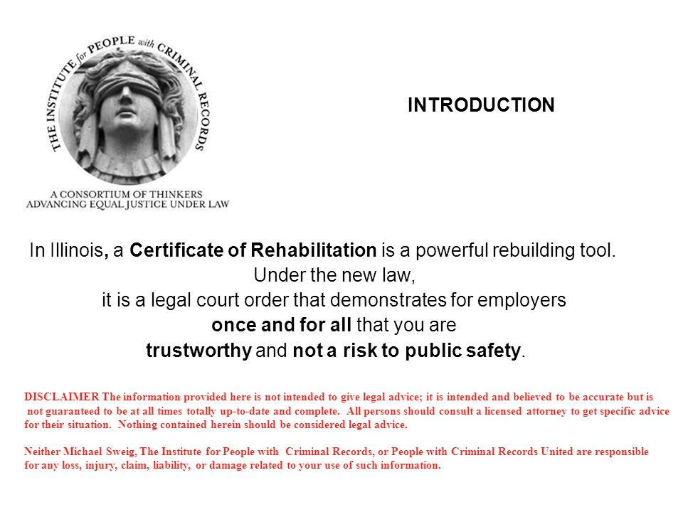 Certificates Of Rehabilitation 730 Ilcs 5 Michael Sweig Jd Founder