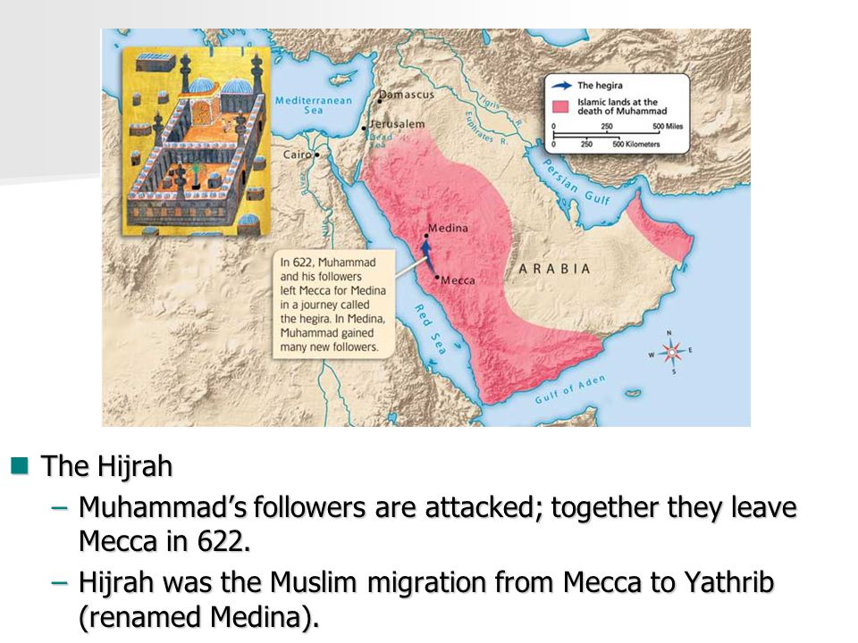 The Hijrah The Hijrah –Muhammad's followers are attacked; together they leave Mecca in 622.