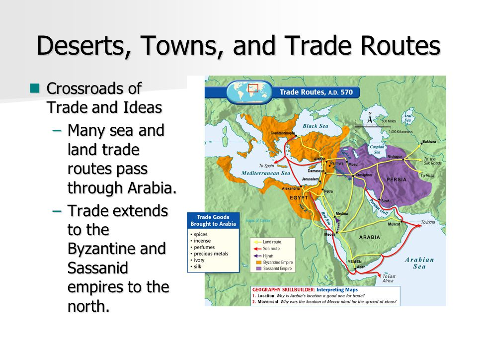 Deserts, Towns, and Trade Routes Crossroads of Trade and Ideas Crossroads of Trade and Ideas –Many sea and land trade routes pass through Arabia.