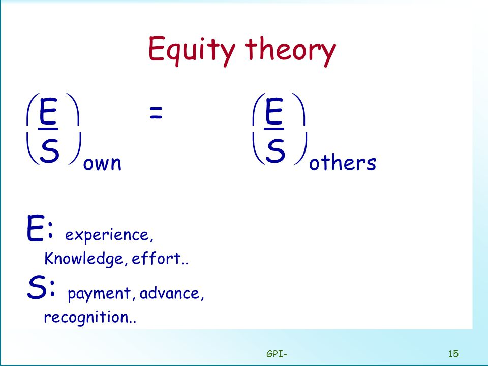 GPI-15 Equity theory  E  =  S  own E: experience, Knowledge, effort..