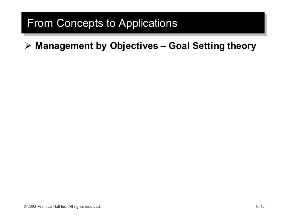 From Concepts to Applications  Management by Objectives – Goal Setting theory © 2003 Prentice Hall Inc.
