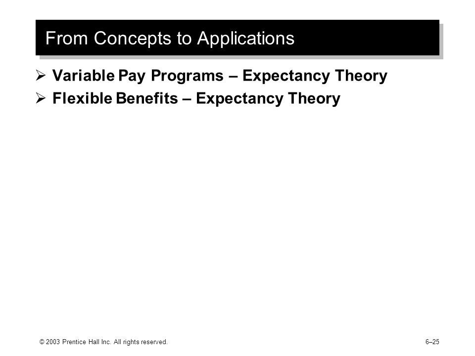 From Concepts to Applications  Variable Pay Programs – Expectancy Theory  Flexible Benefits – Expectancy Theory © 2003 Prentice Hall Inc.