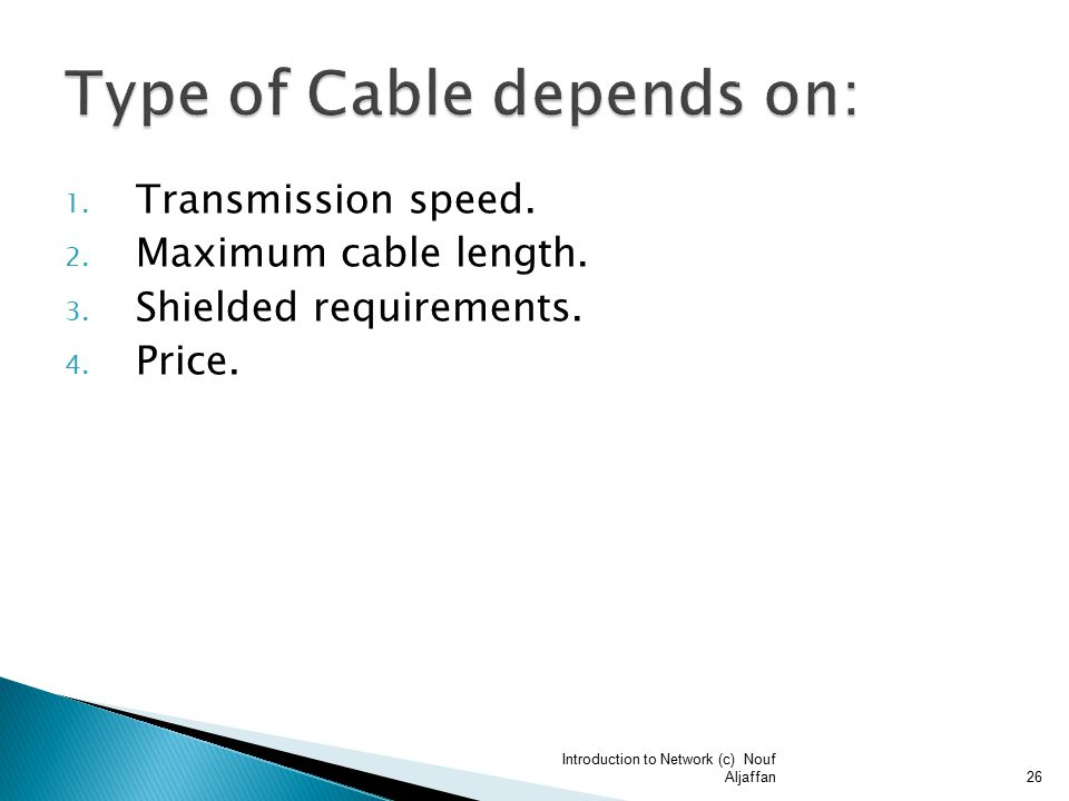 1. Transmission speed. 2. Maximum cable length.