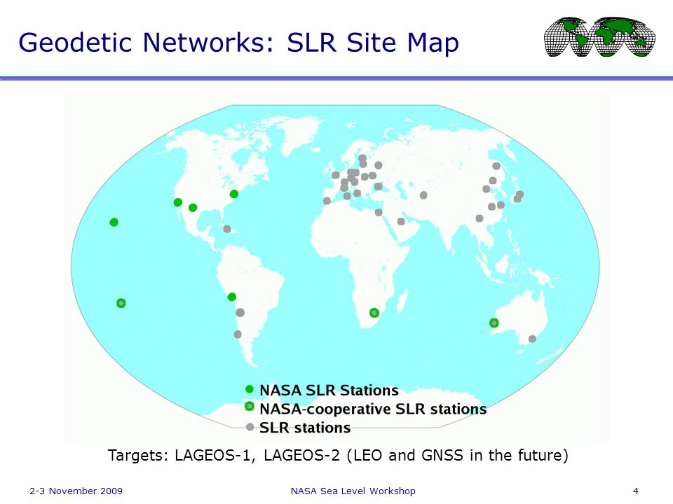 2-3 November 2009NASA Sea Level Workshop4 Geodetic Networks: SLR Site Map Targets: LAGEOS-1, LAGEOS-2 (LEO and GNSS in the future)