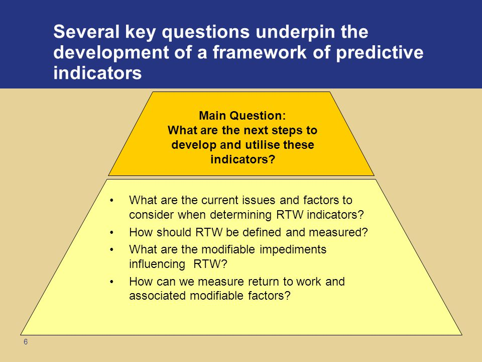6 Several key questions underpin the development of a framework of predictive indicators What are the current issues and factors to consider when determining RTW indicators.