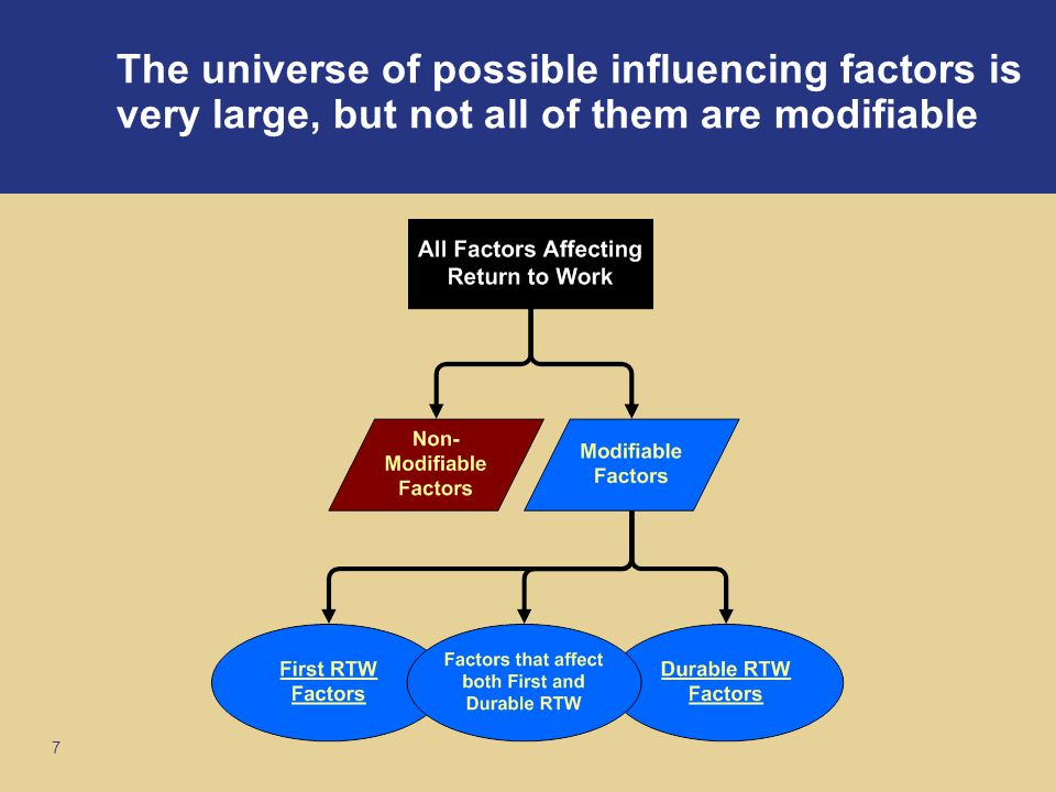 7 The universe of possible influencing factors is very large, but not all of them are modifiable