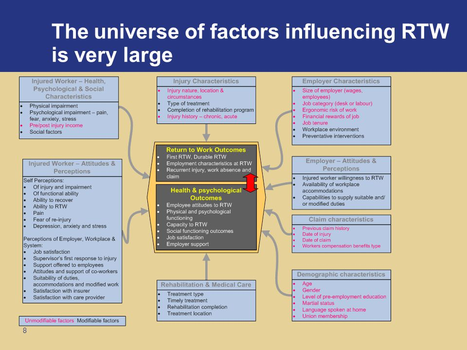 8 The universe of factors influencing RTW is very large