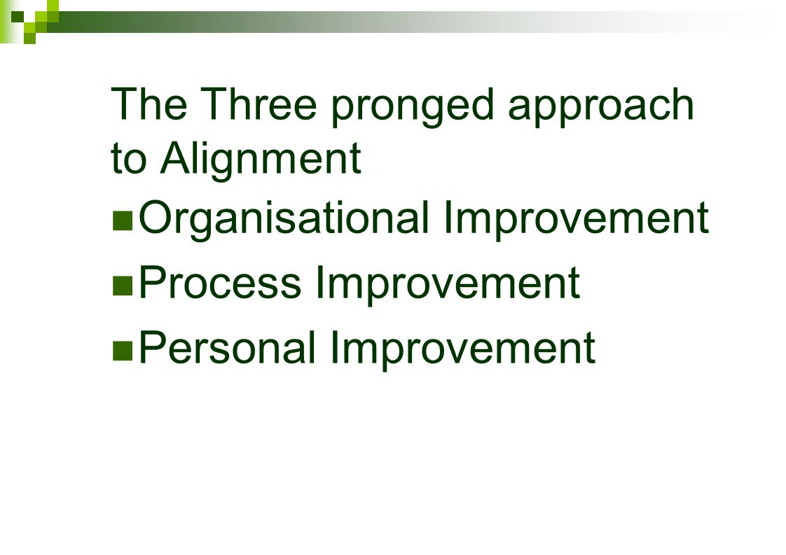 The Three pronged approach to Alignment Organisational Improvement Process Improvement Personal Improvement