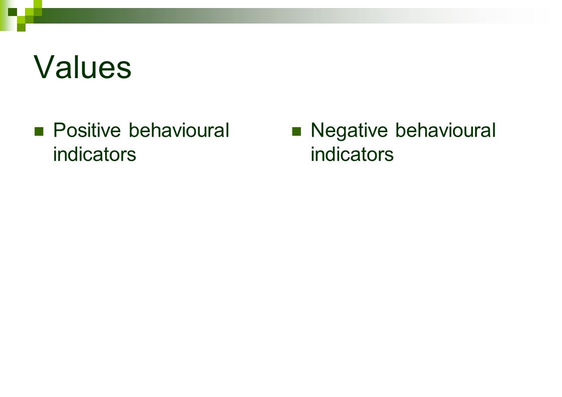 Values Positive behavioural indicators Negative behavioural indicators