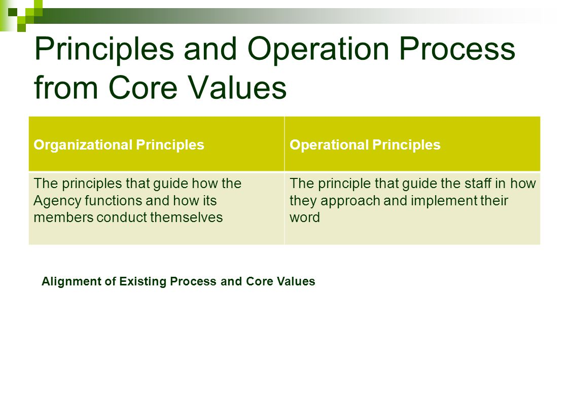 Principles and Operation Process from Core Values Organizational PrinciplesOperational Principles The principles that guide how the Agency functions and how its members conduct themselves The principle that guide the staff in how they approach and implement their word Alignment of Existing Process and Core Values
