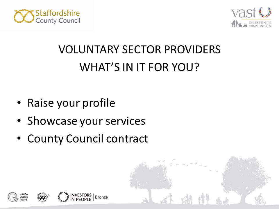 VOLUNTARY SECTOR PROVIDERS WHAT'S IN IT FOR YOU.