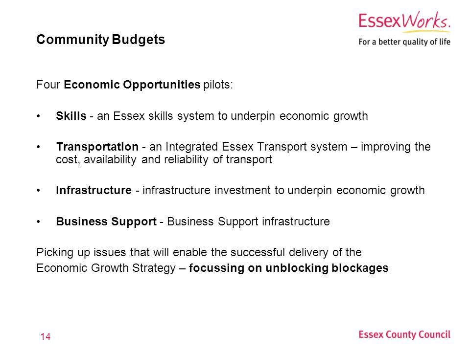 14 Community Budgets Four Economic Opportunities pilots: Skills - an Essex skills system to underpin economic growth Transportation - an Integrated Essex Transport system – improving the cost, availability and reliability of transport Infrastructure - infrastructure investment to underpin economic growth Business Support - Business Support infrastructure Picking up issues that will enable the successful delivery of the Economic Growth Strategy – focussing on unblocking blockages
