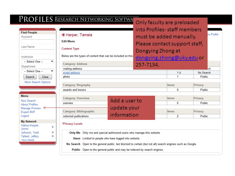 Add a user to update your information Only faculty are preloaded into Profiles- staff members must be added manually.