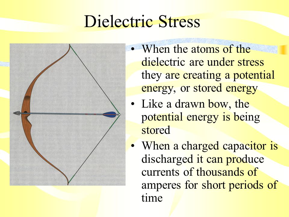 Dielectric Stress When the atoms of the dielectric are under stress they are creating a potential energy, or stored energy Like a drawn bow, the potential energy is being stored When a charged capacitor is discharged it can produce currents of thousands of amperes for short periods of time