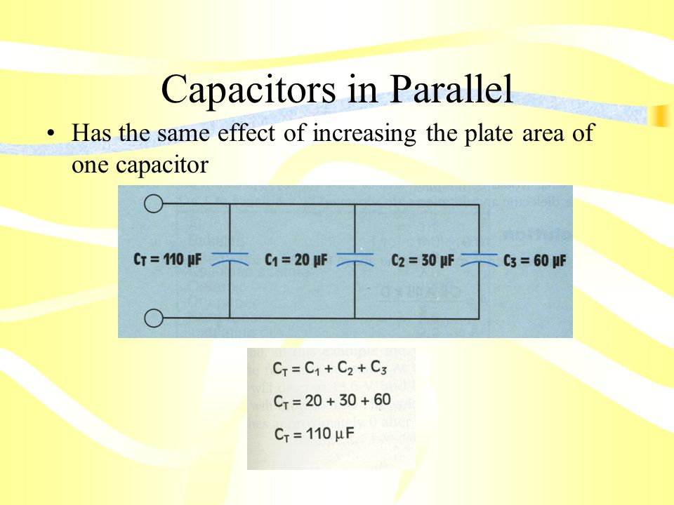Capacitors in Parallel Has the same effect of increasing the plate area of one capacitor