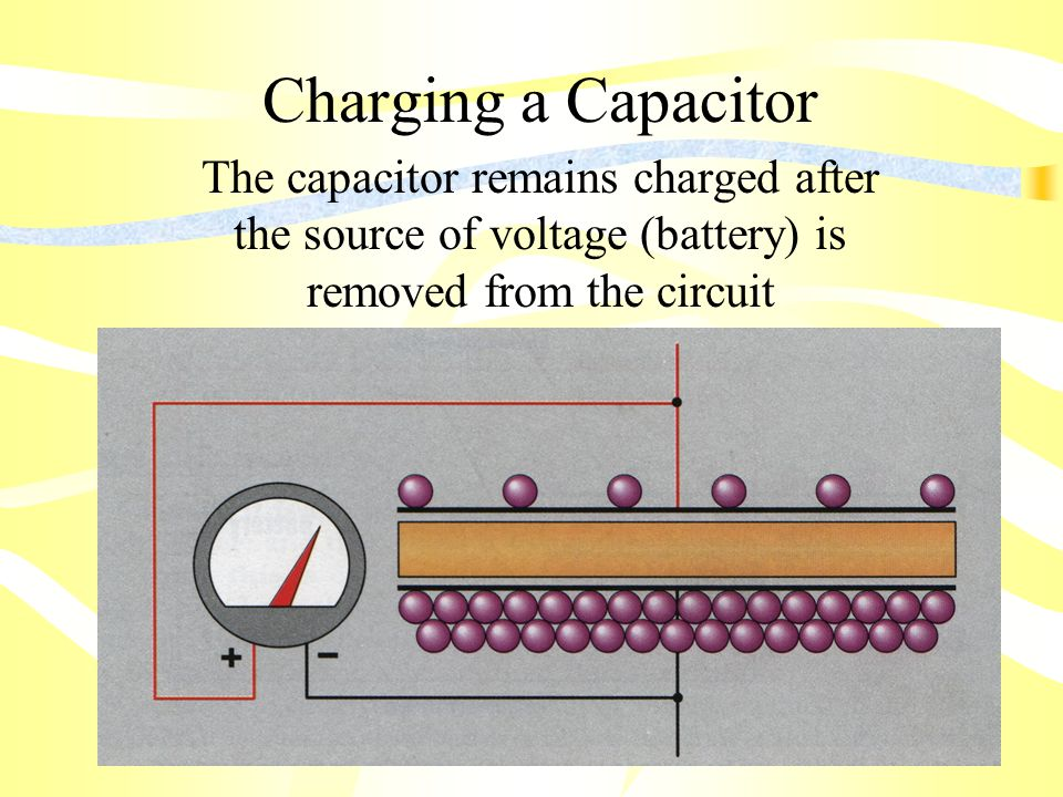 Charging a Capacitor The capacitor remains charged after the source of voltage (battery) is removed from the circuit