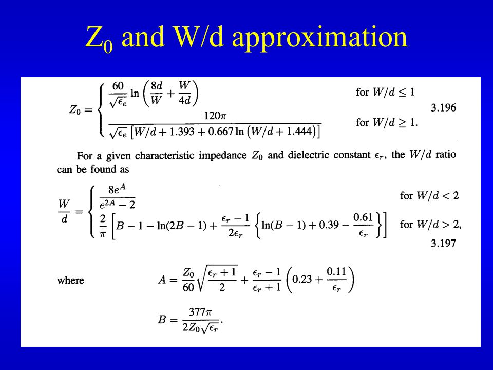 Z 0 and W/d approximation