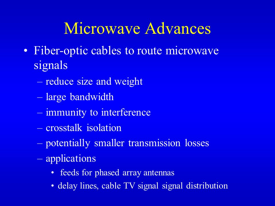 Microwave Advances Fiber-optic cables to route microwave signals –reduce size and weight –large bandwidth –immunity to interference –crosstalk isolation –potentially smaller transmission losses –applications feeds for phased array antennas delay lines, cable TV signal signal distribution
