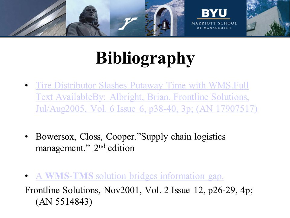 Bibliography Tire Distributor Slashes Putaway Time with WMS.Full Text AvailableBy: Albright, Brian.