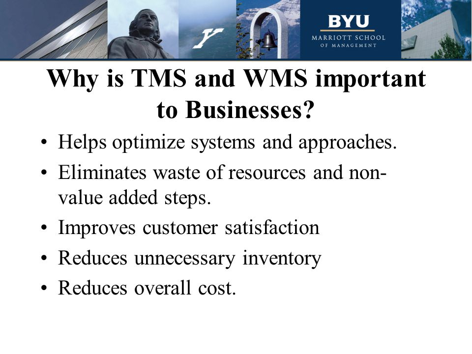 Why is TMS and WMS important to Businesses. Helps optimize systems and approaches.