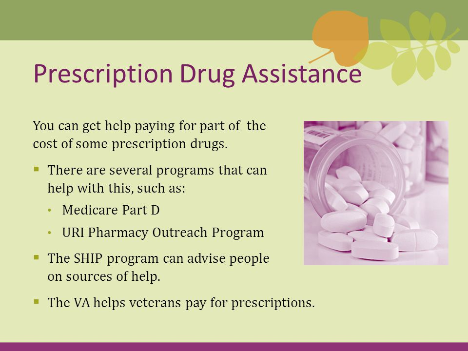 You can get help paying for part of the cost of some prescription drugs.