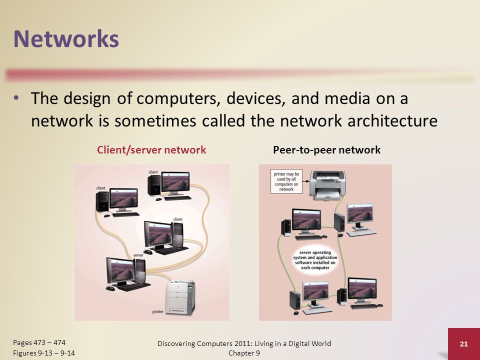 Networks The design of computers, devices, and media on a network is sometimes called the network architecture Discovering Computers 2011: Living in a Digital World Chapter 9 21 Pages 473 – 474 Figures 9-13 – 9-14 Client/server networkPeer-to-peer network