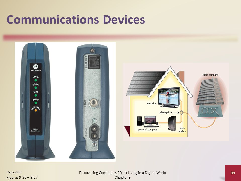 Communications Devices Discovering Computers 2011: Living in a Digital World Chapter 9 39 Page 486 Figures 9-26 – 9-27