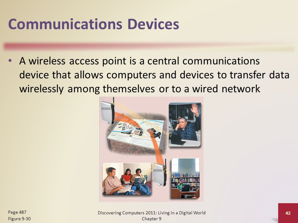 Communications Devices A wireless access point is a central communications device that allows computers and devices to transfer data wirelessly among themselves or to a wired network Discovering Computers 2011: Living in a Digital World Chapter 9 42 Page 487 Figure 9-30