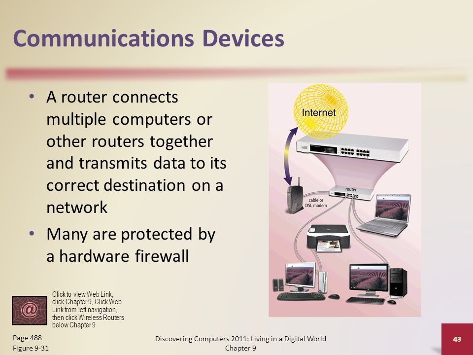 Communications Devices A router connects multiple computers or other routers together and transmits data to its correct destination on a network Many are protected by a hardware firewall Discovering Computers 2011: Living in a Digital World Chapter 9 43 Page 488 Figure 9-31 Click to view Web Link, click Chapter 9, Click Web Link from left navigation, then click Wireless Routers below Chapter 9