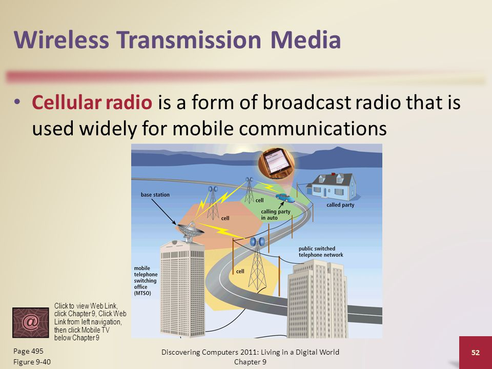 Wireless Transmission Media Cellular radio is a form of broadcast radio that is used widely for mobile communications Discovering Computers 2011: Living in a Digital World Chapter 9 52 Page 495 Figure 9-40 Click to view Web Link, click Chapter 9, Click Web Link from left navigation, then click Mobile TV below Chapter 9