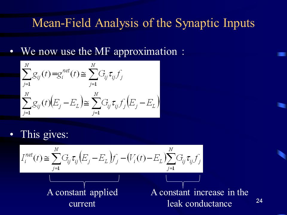 Mean-Field Analysis of the Synaptic Inputs We now use the MF approximation : This gives: A constant applied current A constant increase in the leak conductance 24