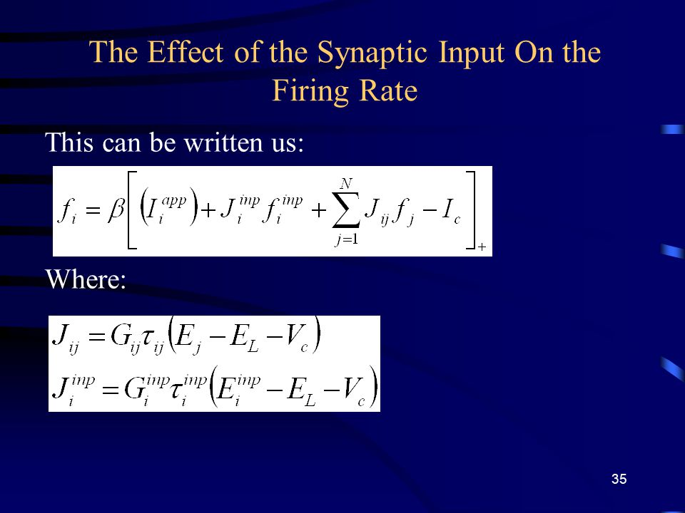 The Effect of the Synaptic Input On the Firing Rate This can be written us: Where: 35