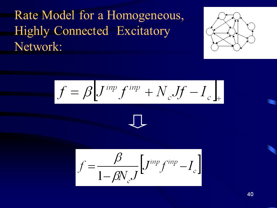 Rate Model for a Homogeneous, Highly Connected Excitatory Network: 40