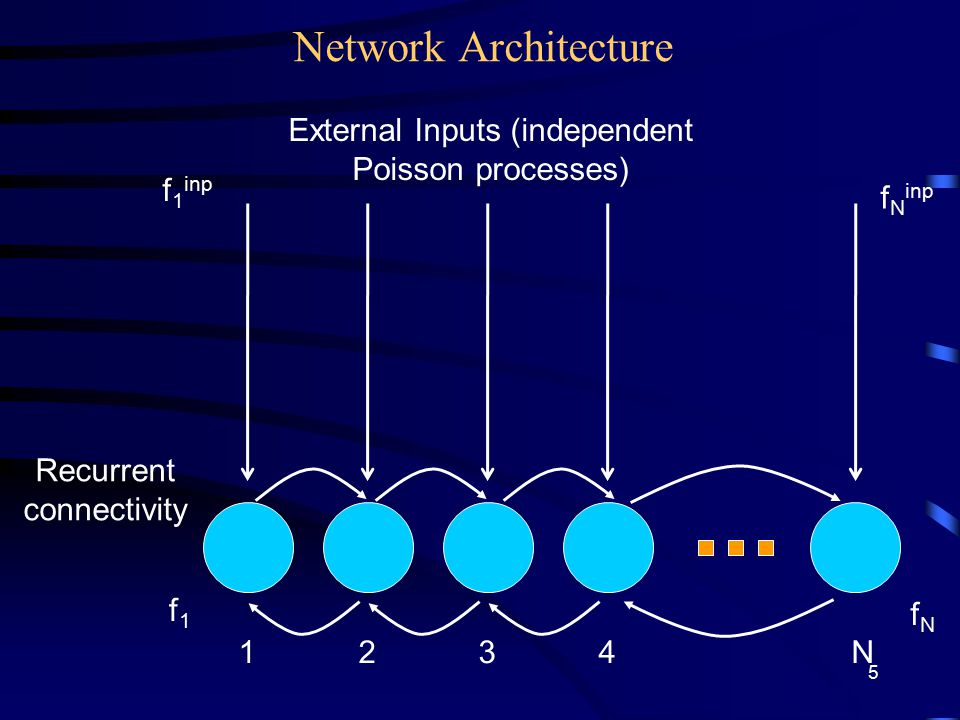 Network Architecture External Inputs (independent Poisson processes) Recurrent connectivity 1234N f 1 inp f1f1 f N inp fNfN 5