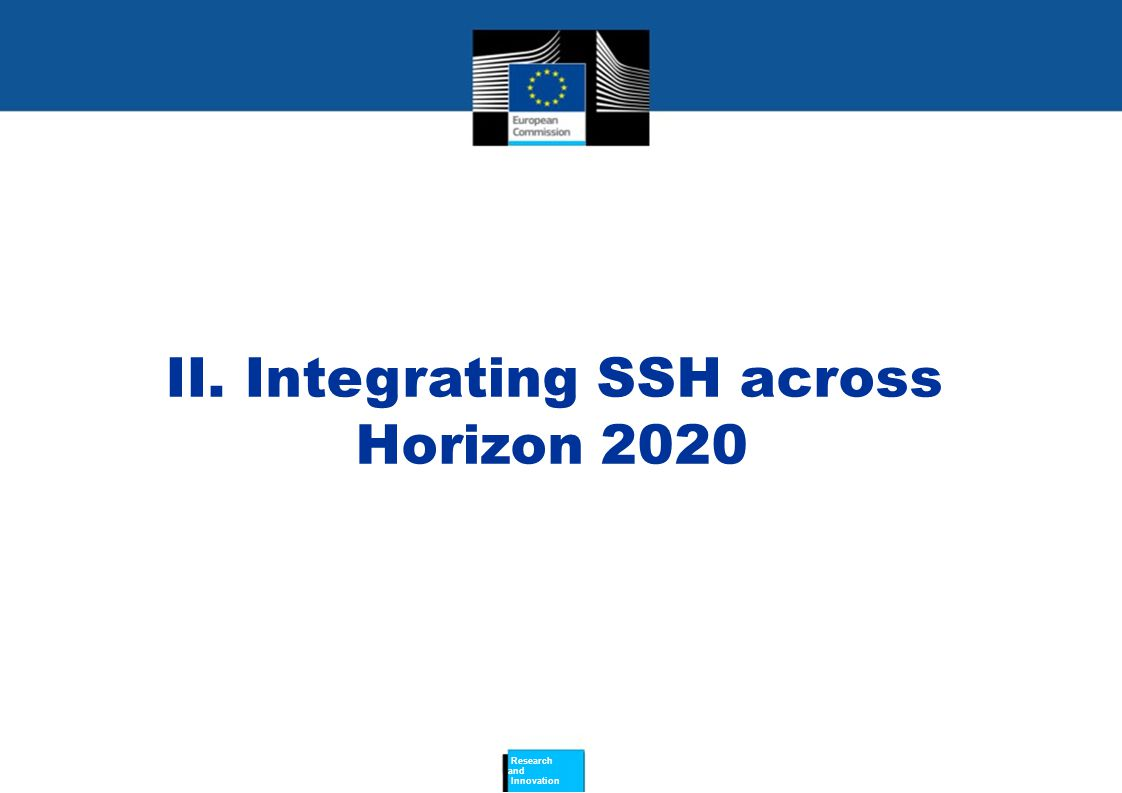 II. Integrating SSH across Horizon 2020 Research and Innovation