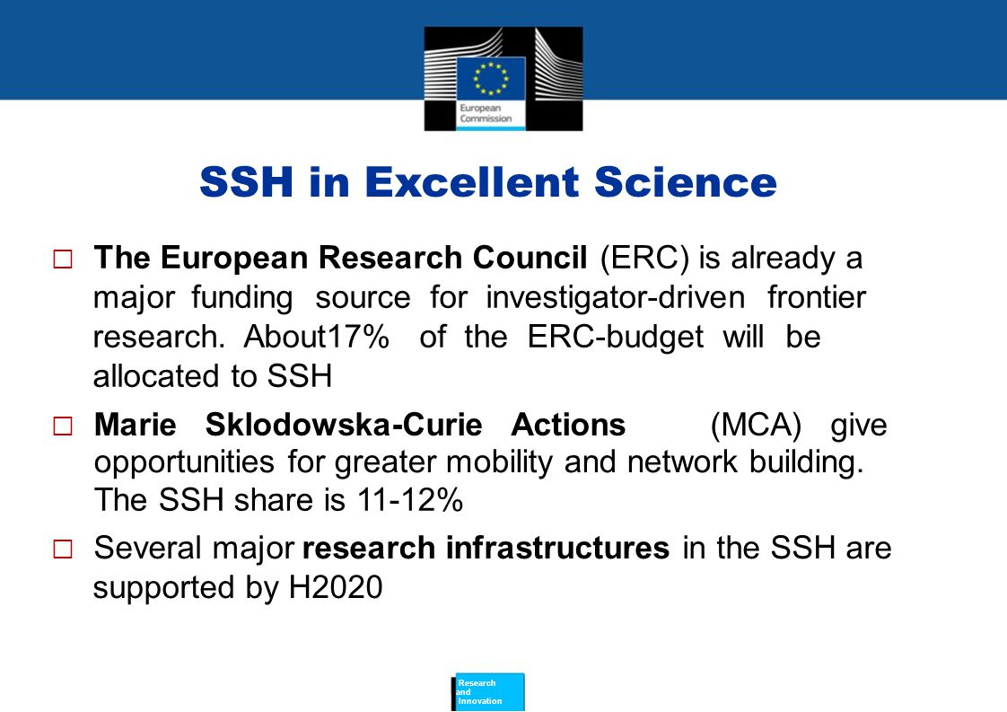 SSH in Excellent Science  The European Research Council (ERC) is already a major funding source for investigator-driven frontier research.