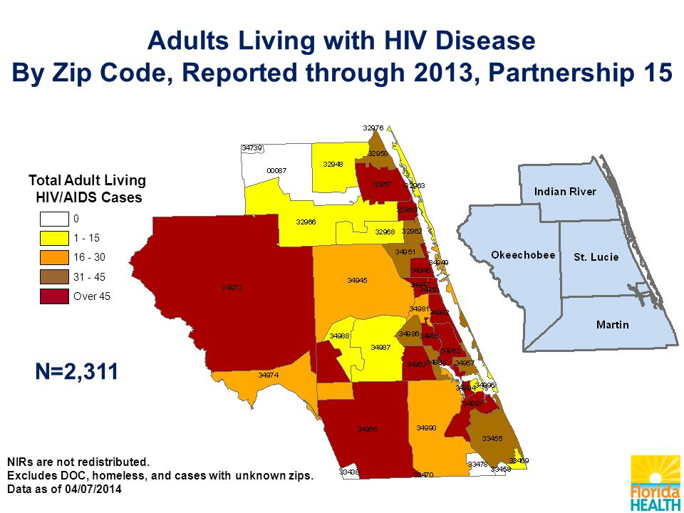 Total Adult Living HIV/AIDS Cases N=2,311 Over Adults Living with HIV Disease By Zip Code, Reported through 2013, Partnership 15 NIRs are not redistributed.