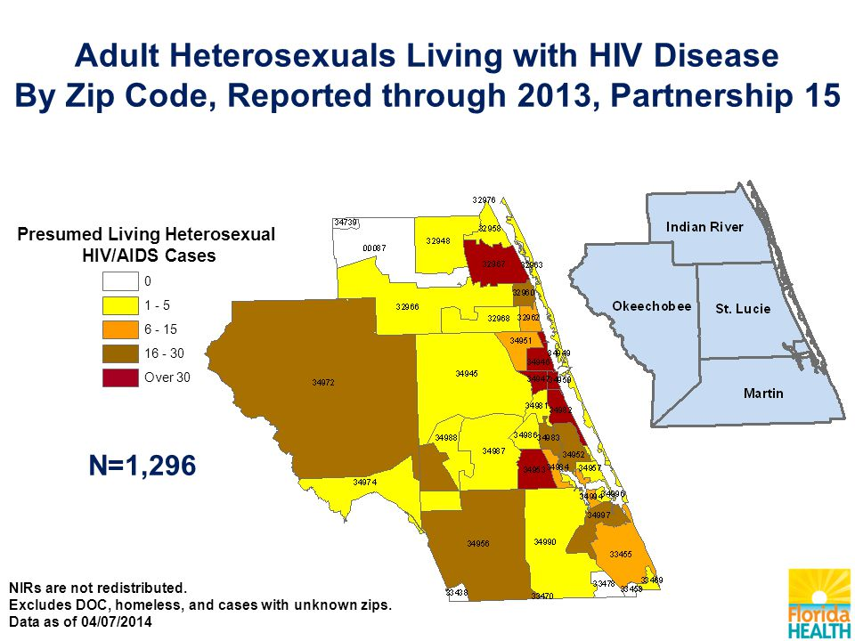 Adult Heterosexuals Living with HIV Disease By Zip Code, Reported through 2013, Partnership 15 N=1,296 Presumed Living Heterosexual HIV/AIDS Cases Over NIRs are not redistributed.
