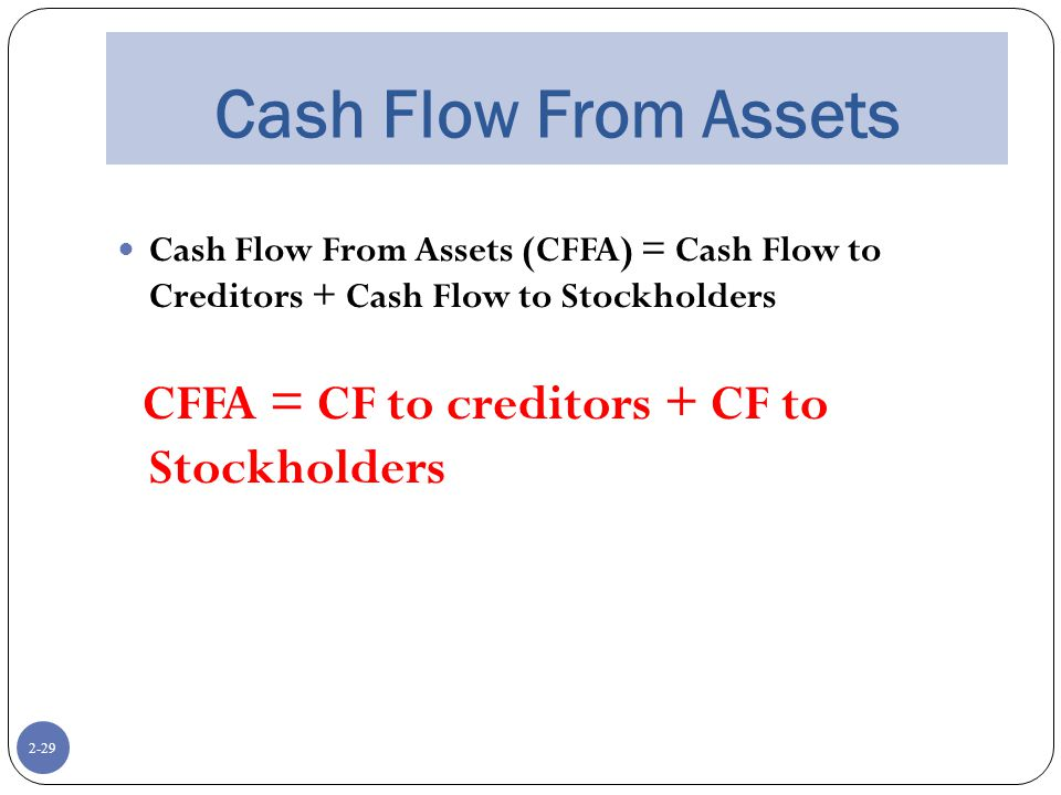 2-29 Cash Flow From Assets Cash Flow From Assets (CFFA) = Cash Flow to Creditors + Cash Flow to Stockholders CFFA = CF to creditors + CF to Stockholders