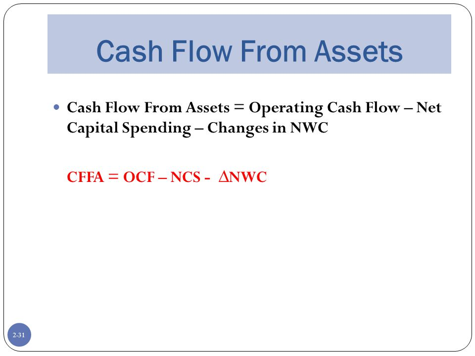 2-31 Cash Flow From Assets Cash Flow From Assets = Operating Cash Flow – Net Capital Spending – Changes in NWC CFFA = OCF – NCS - ∆NWC