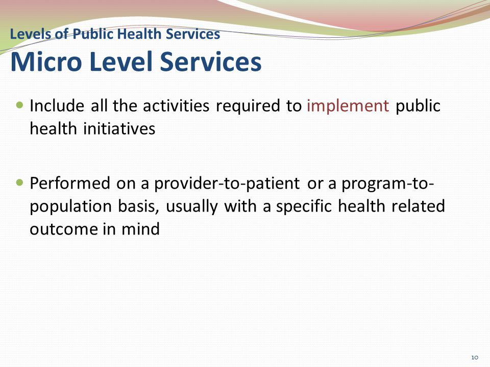 Levels of Public Health Services Micro Level Services Include all the activities required to implement public health initiatives Performed on a provider-to-patient or a program-to- population basis, usually with a specific health related outcome in mind 10