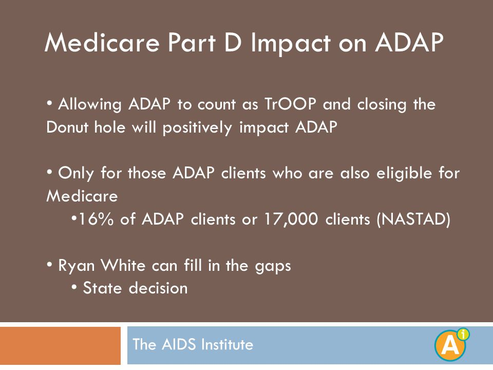 The AIDS Institute Medicare Part D Impact on ADAP Allowing ADAP to count as TrOOP and closing the Donut hole will positively impact ADAP Only for those ADAP clients who are also eligible for Medicare 16% of ADAP clients or 17,000 clients (NASTAD) Ryan White can fill in the gaps State decision