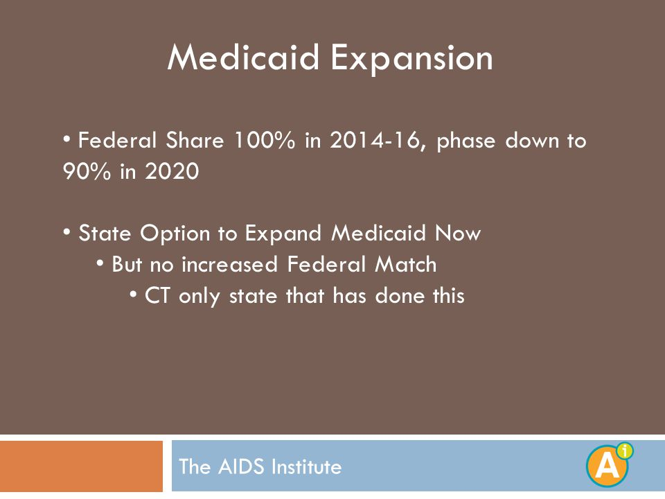 Medicaid Expansion Federal Share 100% in , phase down to 90% in 2020 State Option to Expand Medicaid Now But no increased Federal Match CT only state that has done this