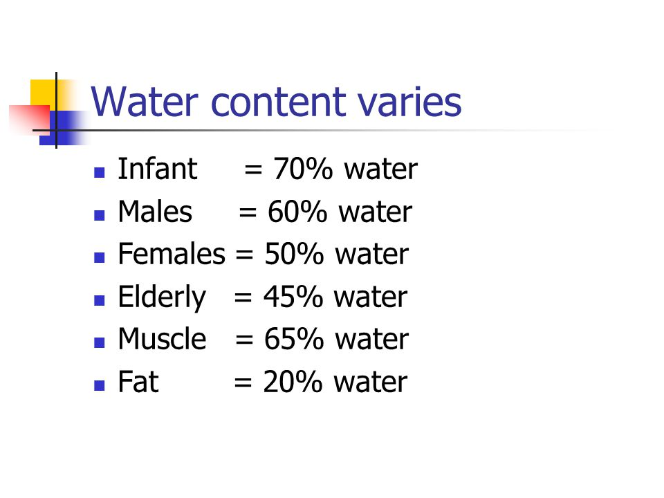 Water content varies Infant = 70% water Males = 60% water Females = 50% water Elderly = 45% water Muscle = 65% water Fat = 20% water