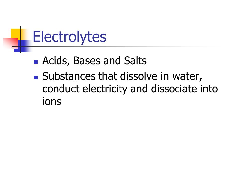 Electrolytes Acids, Bases and Salts Substances that dissolve in water, conduct electricity and dissociate into ions