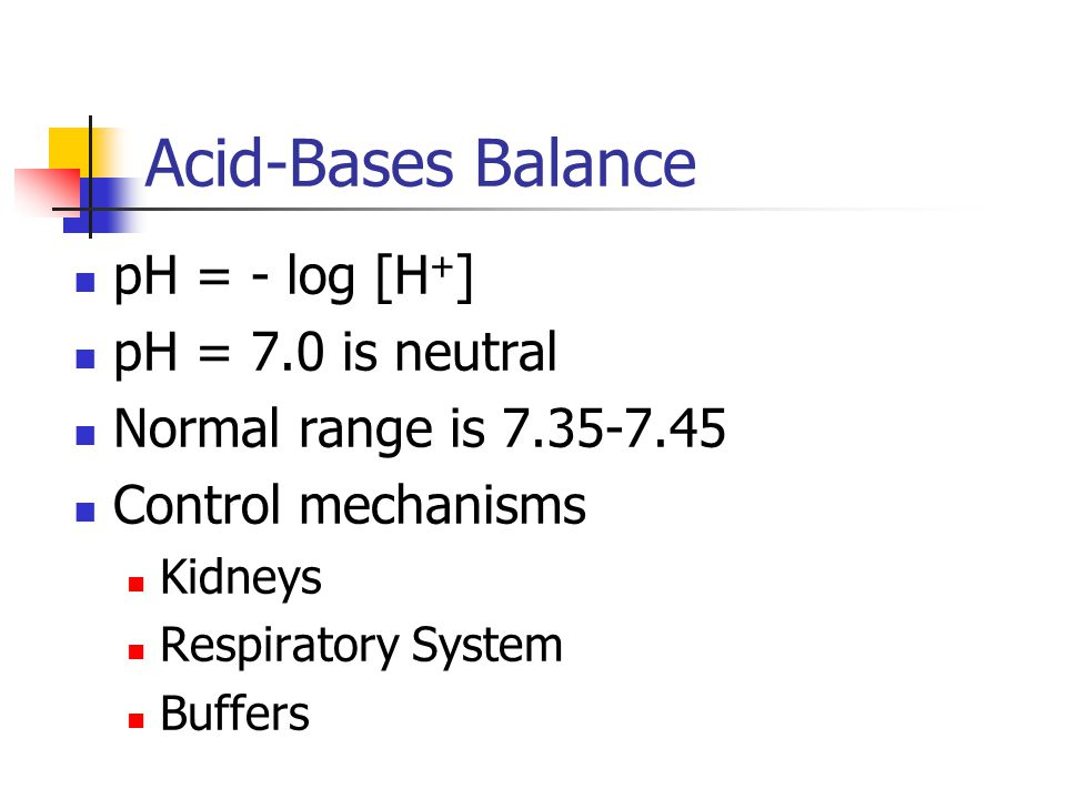 Acid-Bases Balance pH = - log [H + ] pH = 7.0 is neutral Normal range is Control mechanisms Kidneys Respiratory System Buffers