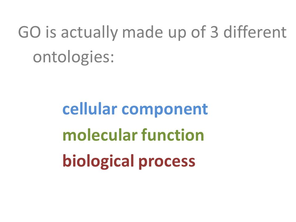 GO is actually made up of 3 different ontologies: cellular component molecular function biological process