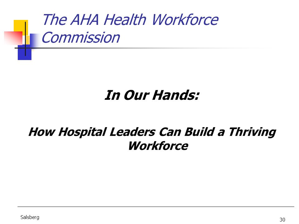 30 Salsberg The AHA Health Workforce Commission In Our Hands: How Hospital Leaders Can Build a Thriving Workforce