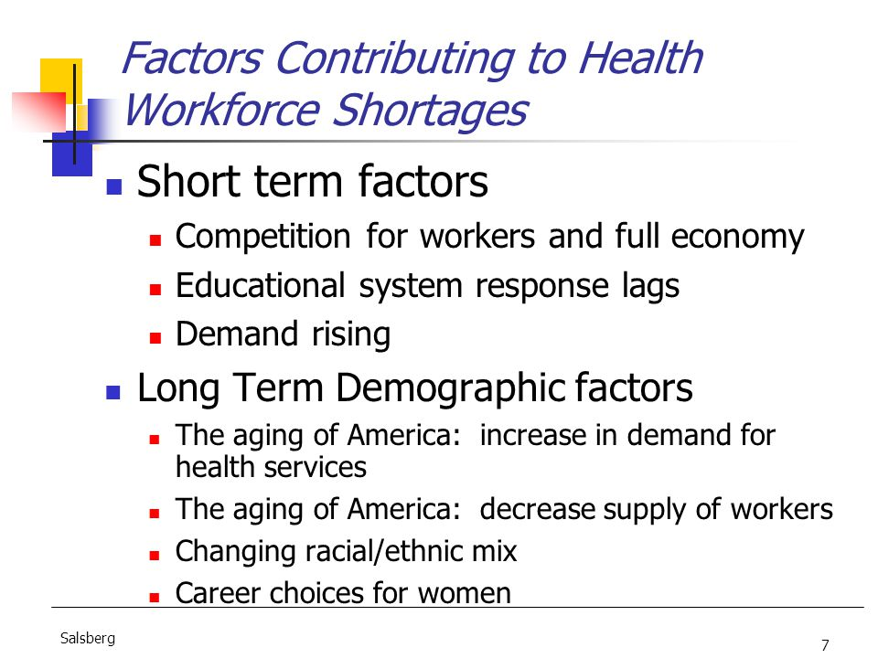 7 Salsberg Factors Contributing to Health Workforce Shortages Short term factors Competition for workers and full economy Educational system response lags Demand rising Long Term Demographic factors The aging of America: increase in demand for health services The aging of America: decrease supply of workers Changing racial/ethnic mix Career choices for women