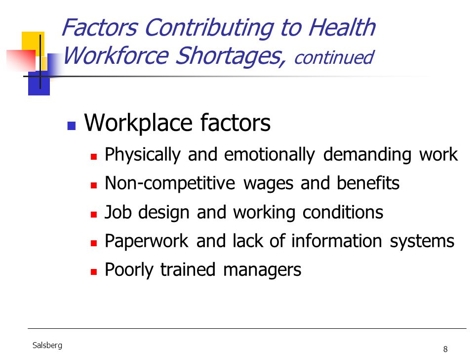8 Salsberg Factors Contributing to Health Workforce Shortages, continued Workplace factors Physically and emotionally demanding work Non-competitive wages and benefits Job design and working conditions Paperwork and lack of information systems Poorly trained managers
